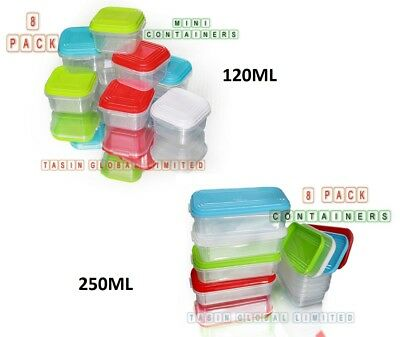 8pc 120/250ml Baby Food Pots Containers Plastic Storage Weaning Feeding Freezer