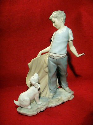 """NAO """"BOY PLAYING BULL FIGHT with DOG"""" PORCELAIN FIGURINE MADE IN SPAIN"""