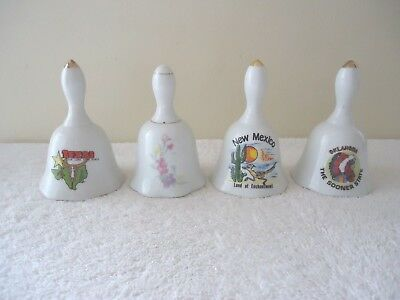 Vintage Lot Of 4 Ceramic Collectible Bells,3,Souvenir,1,Floral Themed