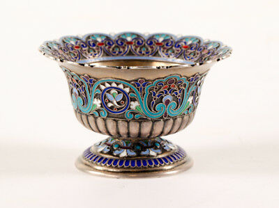 ANTIQUE Russian Silver Enamel Small Vase made Tiffany