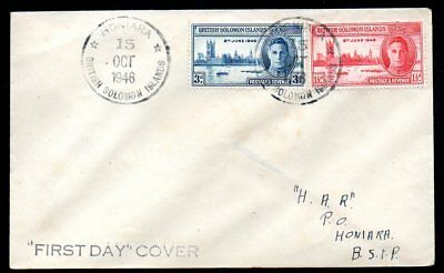 British Solomon Islands - 1946 Victory Set on Plain First Day Cover