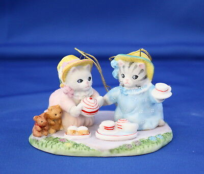 Kitty Cucumber And Priscilla 1991 Tea For Two Annual Porcelain Ornament Schmid