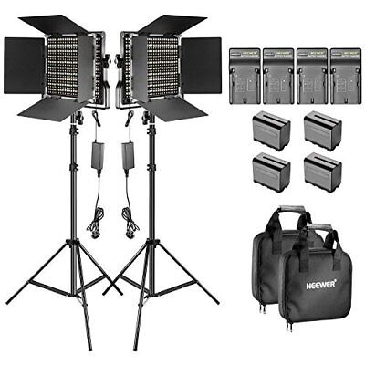 LED Video Light with Barndoor and 6.5 feet Light Stand for Photo Video Shooting