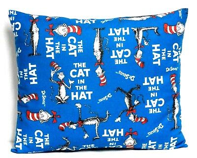 Cat in the Hat Toddler Pillow on Blue Cotton C1-4 New Handmade