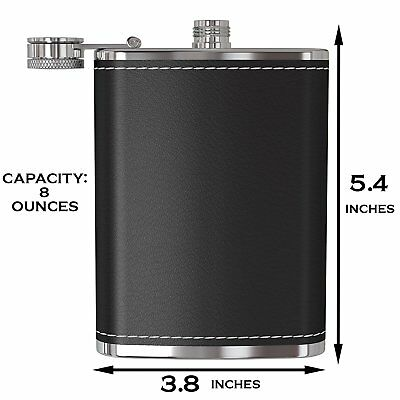Flask for Liquor and Funnel - 8Oz Leak Proof 18/8 Stainless Steel  Leather Cover
