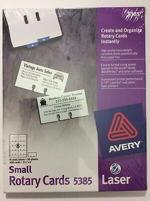 Avery 5385 Laser Inkjet Small Rotary Cards 50 Sheets 400 Cards Sealed