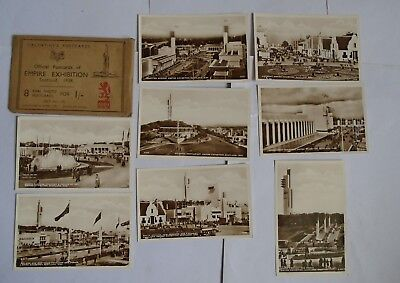 Packeted Set 8 Official Postcards Of Empire Exhibition Scotland 1938