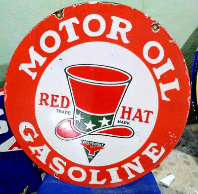 Red Hat Motor Oil Gasoline  Porcelain Enamel Sign 24 Inches Double Sided Round