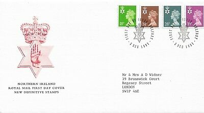 Northern Ireland 1991 FDC set 4 Definitives FDI 3 Dec 1991 Addressed to London