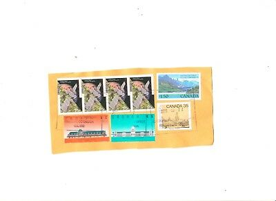 Canada, Lot Of 8 Stamps On Paper Fine Used 3 High Value 5 Other Good Condition