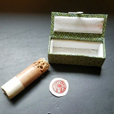 "VTG Chinese Carved Stone ""Michelle"" Dragon Red Ink Stamp Seal & Original Box"