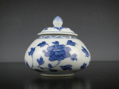 Rare Fine Chinese Porcelain B/W Jar&Lid With Flowers-18th C.Kangxi!