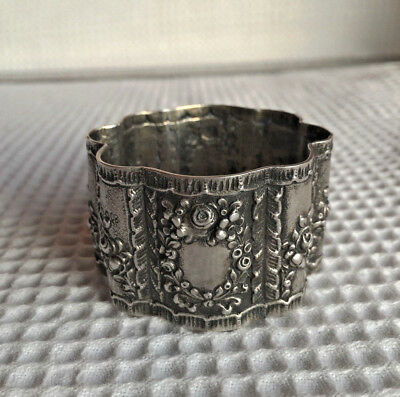Antique Rare German Silver Napkin Ring Marked Crescent Moon & Crown  800