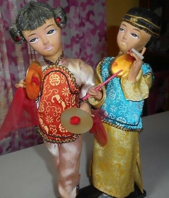 Vintage - Asian Dolls - Girl & Boy - China - Paper Mache on wood stand