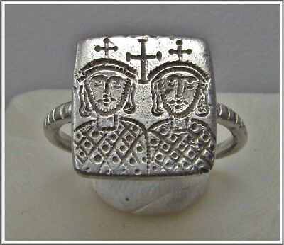 ** CONSTANTINE VI and LEO IV **Ancient Silver Byzantine Ring** CROSS **AMAZING**