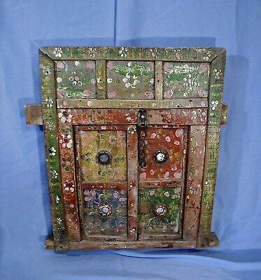 Antique Rustic Painted Distressed Wooden Architectural Window With Frame ..india