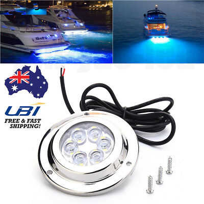 Stainless Steel 12W Blue/White Underwater LED Light for Boat Marine Fishing AU