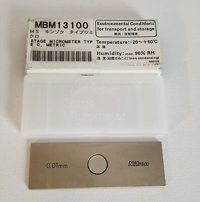 Genuine Nikon Microscope Reflected Light 0.01mm Slide Micrometer MBM13100