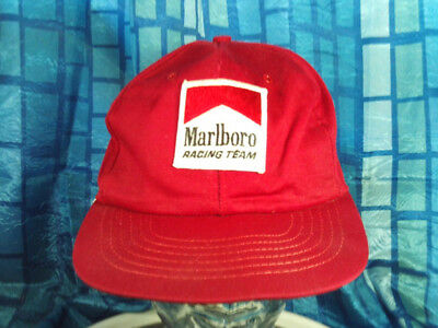 7424b192b11 VINTAGE MARLBORO Cigarettes Racing Team Promotional Red Trucker Cap ...
