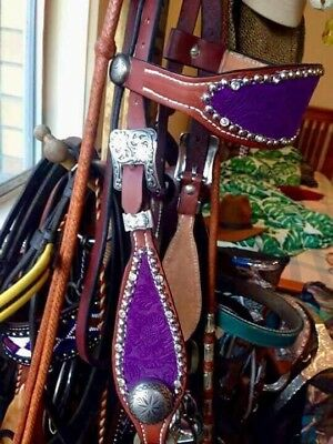 As New Western Bling Australian Maker Purple Western Bridle Headstall Pony - Cob