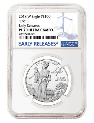 2018-W 1 oz Platinum Proof Eagle $100 Life NGC Early Releases PF70 Ultra Cameo