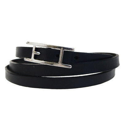Auth HERMES Api Ⅲ Belt Leather Silver Plated Leather Black Accessory 00BA834