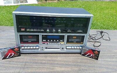 Rare JC Penney 683-1987 Stereo AM/FM Cassette 8 Track Player + 2 Sealed Tapes