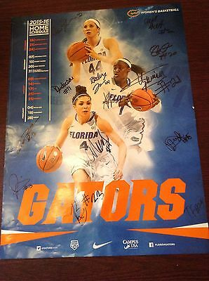 """Florida Gator 2015-16 Women's Basketball Schedule Autographed Poster 24' X 13"""""""