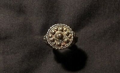 Ancient Byzantine Bronze Gilded Crown Ring 10th Century AD must see!