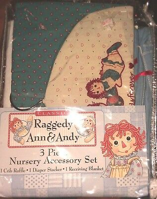 Raggedy Ann And Andy Diaper Stacker And Matching Bed Skirt Dust Ruffle Blanket