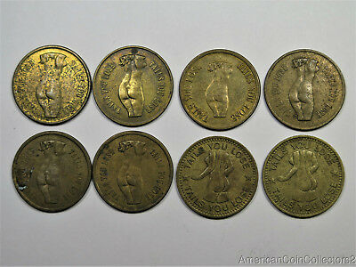 (8) Magic Brothel Tokens Heads I Win Tails You Loose Naked Girl Look  |9980