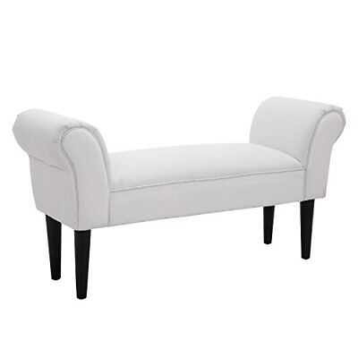 HOMCOM Bed End Side Chaise Lounge Sofa Window Seat Arm Bench Wooden Leg ...