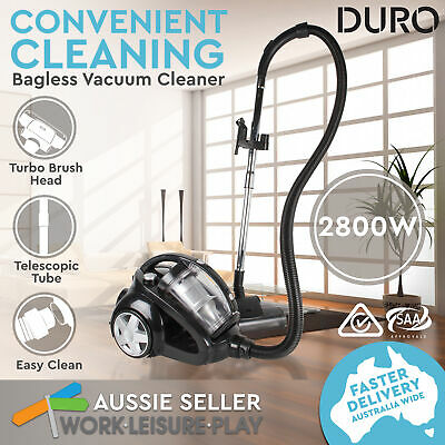 2800W Bagless Vacuum Cleaner Cyclone Cyclonic HEPA Filtration System Black