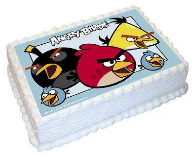 Angry Birds A4 Edible icing Image Cake Topper Decoration Rectangle