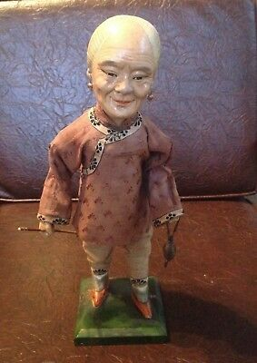 Antique Chinese Composition Character Lady Doll  with Pipe
