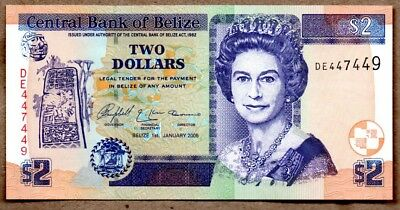 Belize UNC Note 2 Dollars January 2005 P-66b