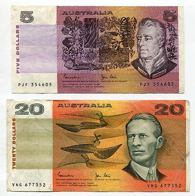 Australia 5 Dollars 1983 P-44d + 10 Dollars 1983 P-46d Johnston/Stone (2 pcs)