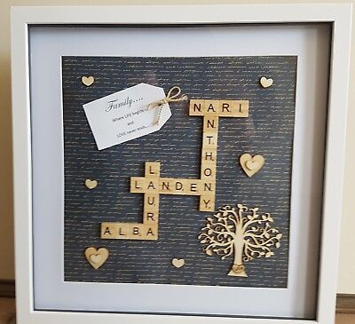 """Personalised Family Scrabble Name Frame 15""""x15"""" - Great Gift!"""