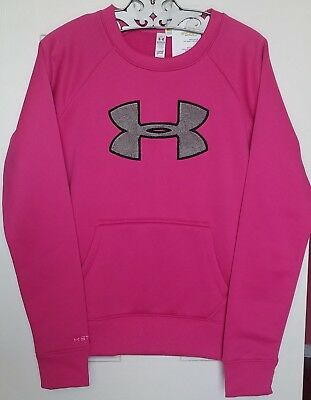 NWT Ladies UA Under Armour Cold Gear Storm Pink & Gray Logo Sweatshirt XS