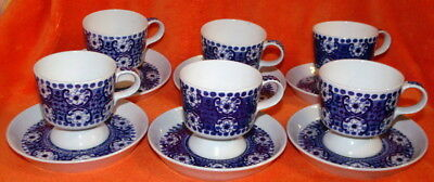 Arabia - Ali Blue - Complete Set For Six (6) - Coffee Cups / Saucers - 12 Pieces
