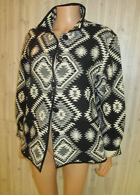 VINTAGE TAPESTRY WESTERN NAVAJO ETHNIC BLACK AND WHITE JACKET Med (thick cotton)