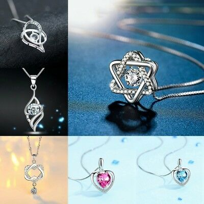 Women Fashion 925 Silver Sterling Necklace Chain Pendant Party Jewelry Ornaments