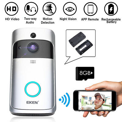 WiFi Wireless Video Doorbell Smart Door Bell motion sensor Two-Way Talk 8GB Card