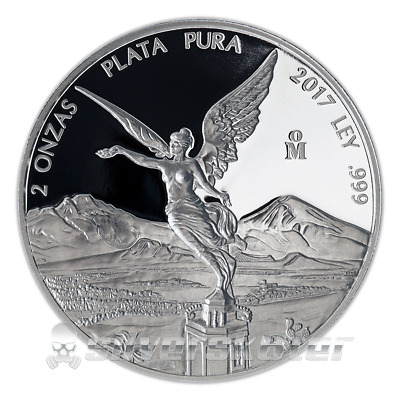 2017 Mexican Libertad PROOF 2 oz .999 Silver in Capsule - Super Low Mintage SALE