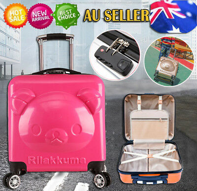 Pink4 Wheel Kids Holiday Travel Luggage Suitcase Wheeled Trolley Toy School Bag