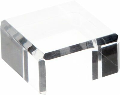 """Plymor Brand Clear Polished Acrylic Square Beveled Display Base,1"""" H x 2"""" W x 2"""""""