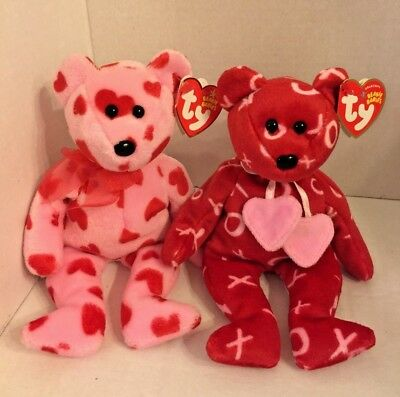"""Lot of 2 Ty Beanie Babies Kiss-Kiss & Little Squeeze 8 1/2"""" Red Pink w Tags"""