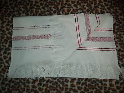 Antique Hand Woven White Linen Tablecloth Coverlet 1900s Ukraine Great Condition