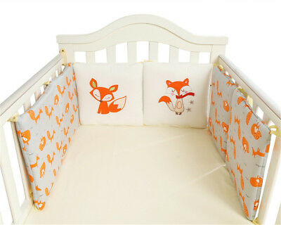 Baby Crib Bumper Breathable Comfy Cotton Infant Toddler Bed Cot Protector 6 pcs
