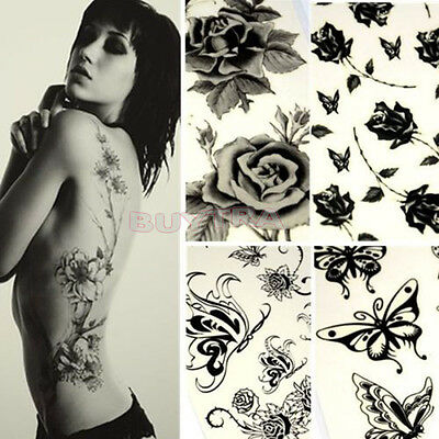 Charm Unisex Schmetterling Rose Tattoo Body Art Aufkleber Schwarz Fad  WH